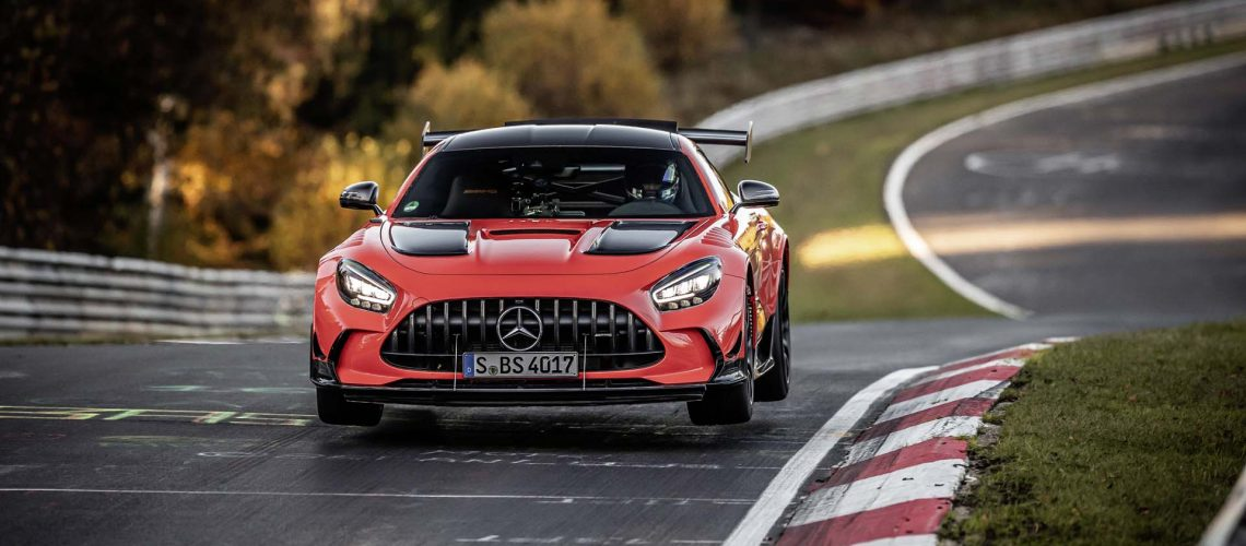 Mercedes-AMG GT Black Series (Kraftstoffverbrauch kombiniert: 12,8 l/100 km, CO2-Emissionen kombiniert: 292 g/km), 2020, Outdoor, Nuerburgring Nordschleife, AMG magmabeam // Mercedes-AMG GT Black Series (combined fuel consumption: 12,8 l/100 km, combined CO2 emissions: 292 g/km), 2020, Outdoor, Nuerburgring Nordschleife, AMG magmabeam